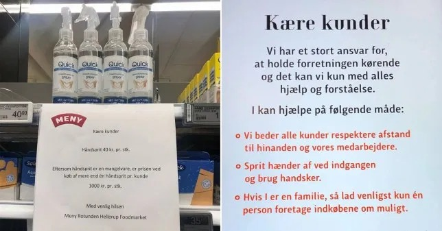Supermarket in Denmark charges £4 for one big hand sanitser and £122 for two