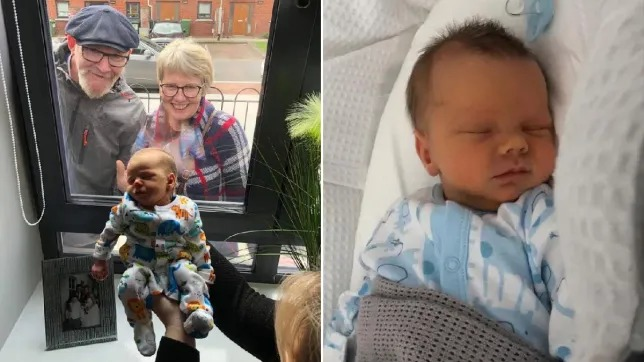 Baby meets grandparents for first time through window amid coronavirus isolation