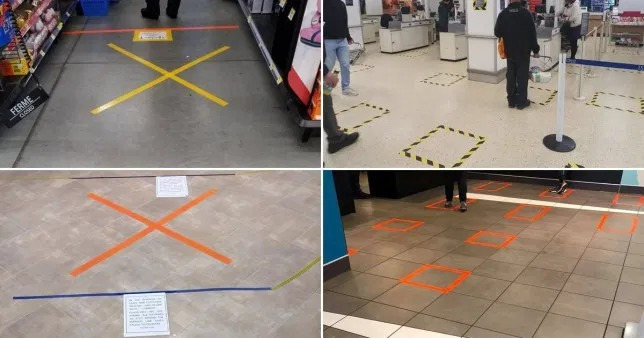 McDonald's, Tesco, Lidl and more have tape on the floor to encourage distancing
